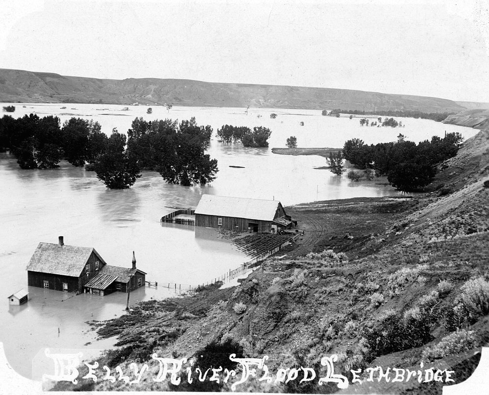 Oldman River in flood, 1902.  Courtesy the Galt Museum & Archives: 19961000002