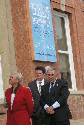 100 Anniversary celebration of Galt Hospital building, 2010. Visible L-R: Senator Joyce Fairbairn, Galt Museum & Archives Board of Directors Chair Chris Epplett, Mayor Bob Tarleck