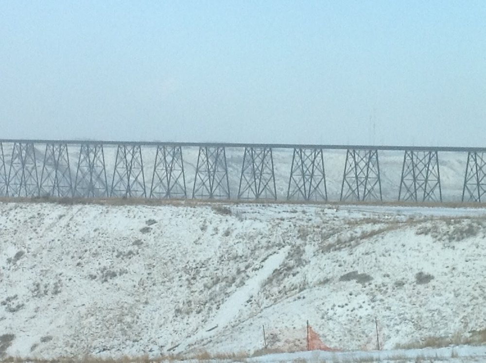 Lethbridge's High Level Bridge after snow, January 2013, photo by Belinda Crowson