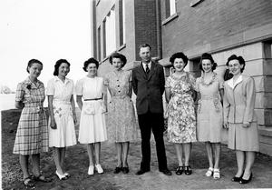 Galbraith Staff, 1946. From let to right: Ethel Hawthorne, Bessie McCully, Marjorie Brown, Alice Gate, Clarence Larson (Principal), Mabel Luco, Marjorie Horn, Erla Sanderson (nee Keays) Galt Archives 19941011010