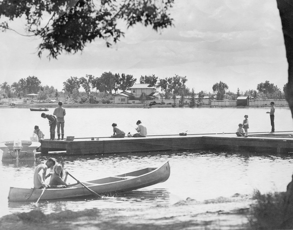 Fishing and canoeing on Henderson Lake, 1970. Galt Archives 19760219018