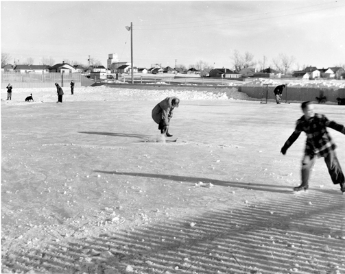 The skating rink at Lions Playground, 1951. Galt Archives 19851047006