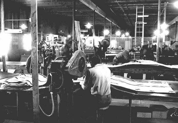 Ducan Canvas Company shop, 1964.   Courtesy the Galt Museum & Archives: P199110761320