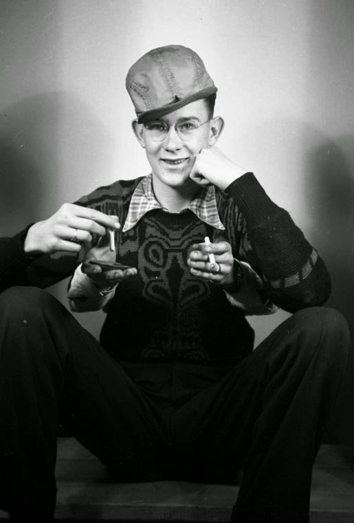Trick photography: young man with four hands (*IN STUDIO), 26 April 1948  Courtesy the Galt Museum & Archives: 20121093149