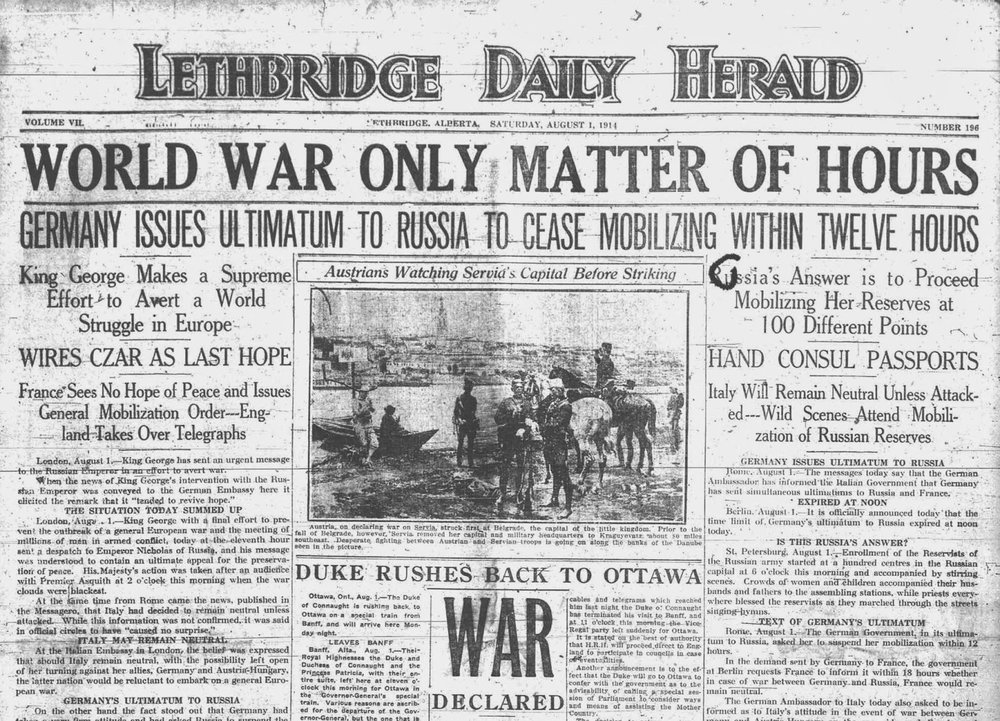August 3, 1914 Lethbridge Daily Herald cover