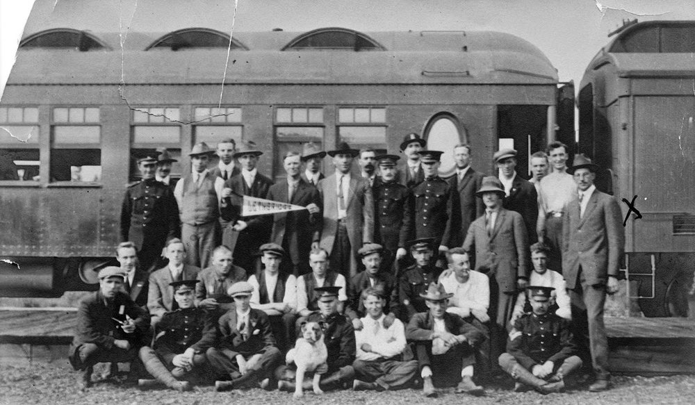 The first contingent of Lethbridge volunteers left the city on August 18, 1914 bound for Valcartier, Quebec. The group included 25 members of the 25th Independent Battery, more than 50 British reservists, and a handful of other locals hoping to get on with one of the infantry battalions.  Courtesy the Galt Museum & Archives: 19831018000