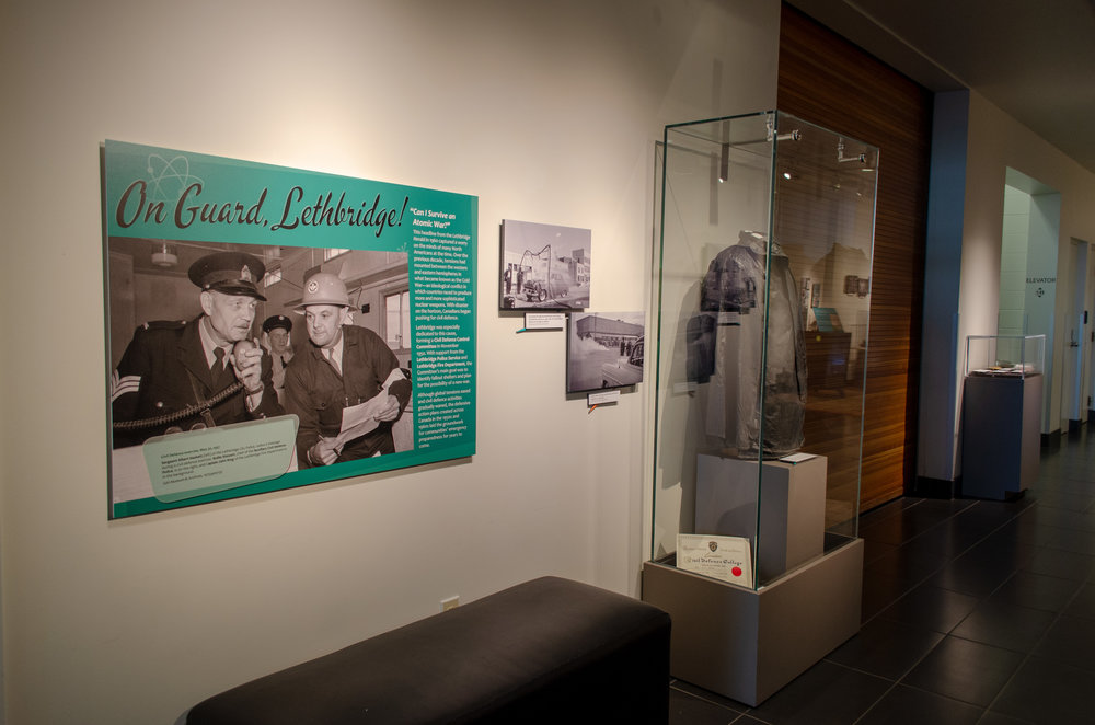The opening panel and artifacts in the exhibit  On Guard, Lethbridge!
