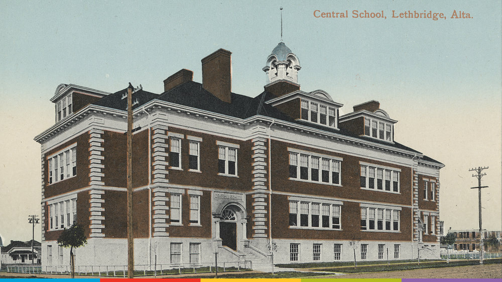 An archival photo of Central School in Lethbridge.  Photo from the Galt Museum & Archives: P19730158001
