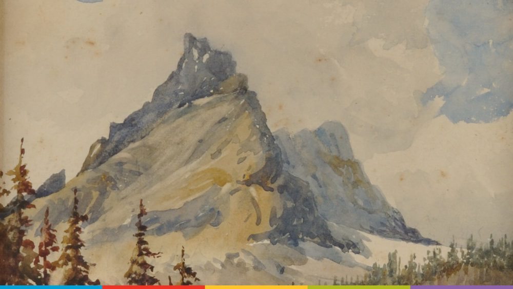 A painting of a mountain range by Edith Kirk.  Photo from the Galt Museum & Archives: P20150008000