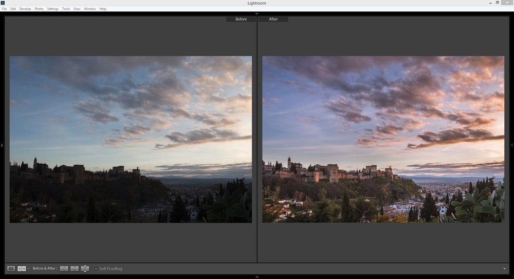 Before and after editing with lightroom CC