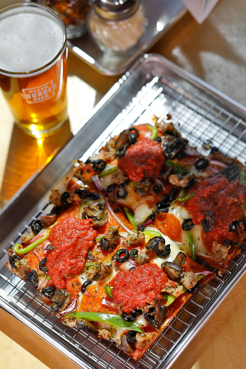 Detroit-Style Pizza and Pint of Beer