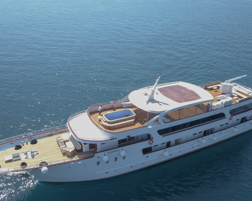 MS Avantura, MS Adris and MS Apolon - The boat is 50m long and 8.80m wide with  capacity for up to 40 guests in 19 exquisite cabins. There are 8 standard cabins (15-17m2) and 11 main deck cabins (14-17m2). All have double beds or twin beds, shower and toilet, built in air-conditioning, a desk and chair, safe and hairdryer.The boat has several public spaces such as a living/dining room, lounge, bar, outdoor terrace. The outdoor terrace has its own removable tarpaulin for windy days. One top deck sun terrace with sun beds and a small pool. At the back of the boat there is a platform equipped with two ladders and two outdoor showers used during swim stops. Wi-Fi on board is available free of charge.