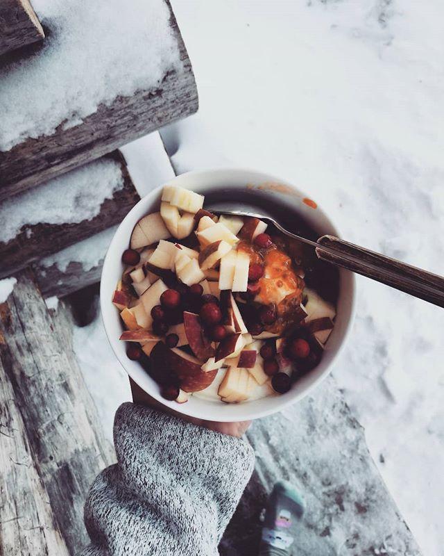 Breakfast 🦄  @planti_sverige , muesli, organic Swedish apples, wild lingonberries, wild cloudberries and love 💕  What did you eat for breakfast?? #vegan #plantbased #veganbreakfast #norrland #wellness #lifestyle #girlonamission #wellnesscoach