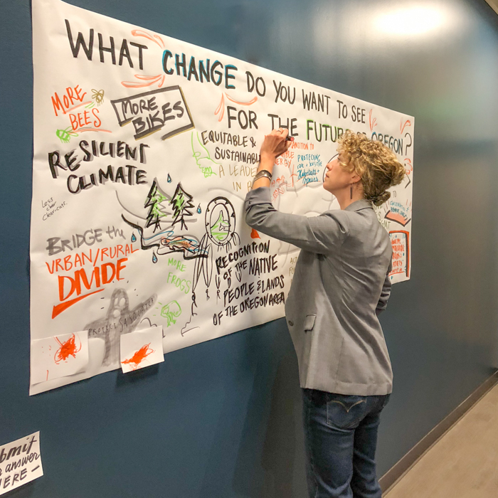 What Change do you want to see for the future of Oregon?  Katelyn Hale, one of Samara's graphic facilitators displays a participant's answer to the question at one of our two interactive stations.
