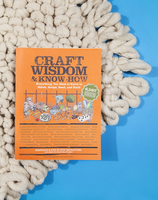 Clocking in at two-and-a-half pouns of crafty goodness,  Craft Wisdom & Know-How  is a great addition to any bookshelf. Newcomers will be dazzled by the nearly 500 pages of projects; old hats will love its wily time- and sanity-saving tips. | Kneeland Mercado's Loop Rugs are made in Mexico by a father and son team, who have been at it since the '70s. We love its gentle nod to that era's fiber arts movement and its monochromatic contemporary style.