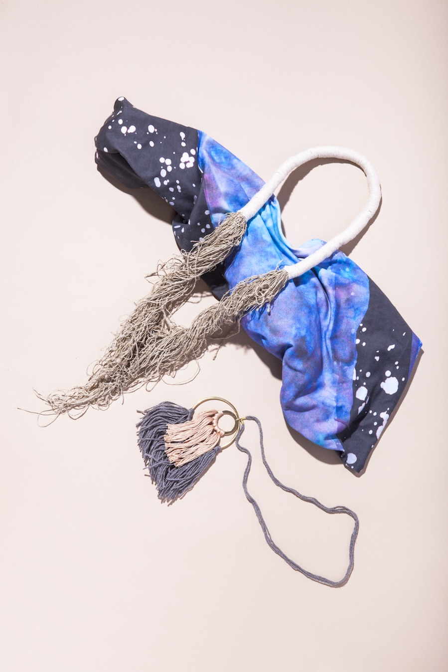 "Karina Manarin  ""Mountan Top"" Scarf;  Wild Columbine  No. 2 Necklace; Cosmic Thread String Theory Necklace."