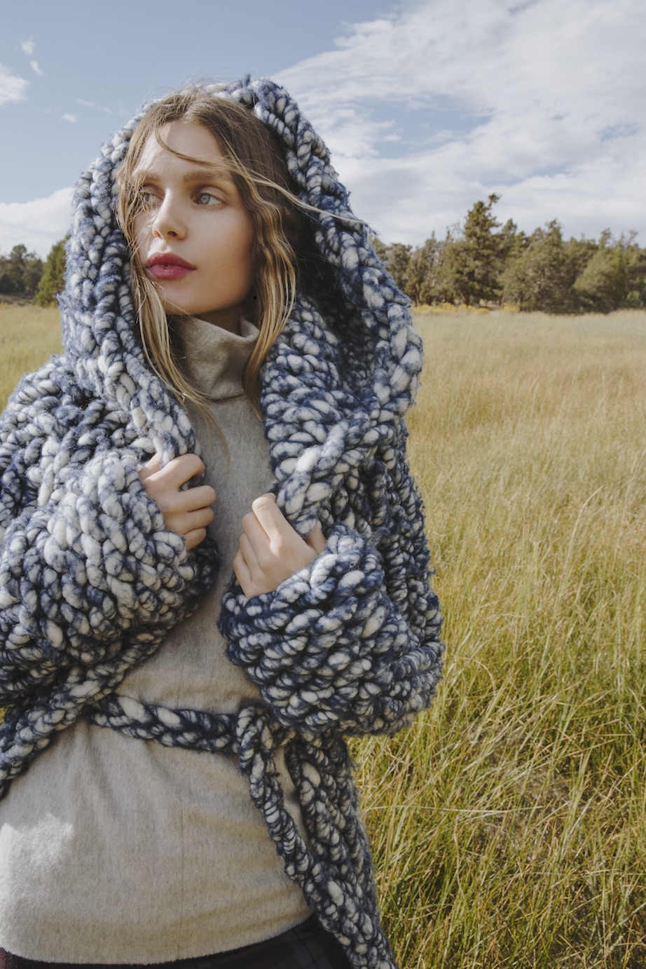 """Everyone's favorite """"Carmen Coat"""" by the way-talented Brandi Harper in Issue 7. (Photo: Kat Borchart)"""