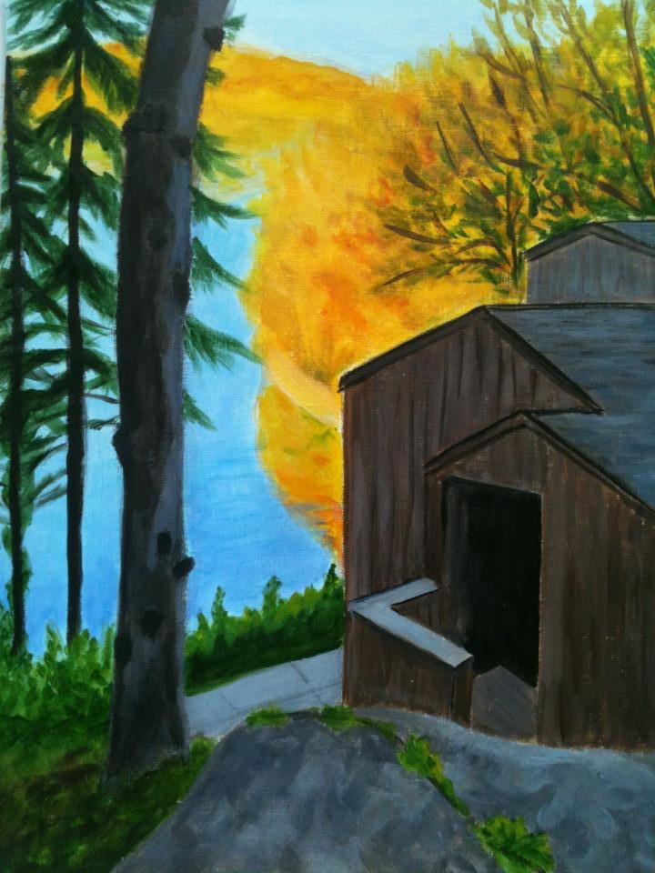 """Cottage in Fall"" 16"" x 20"" acrylic on canvas"