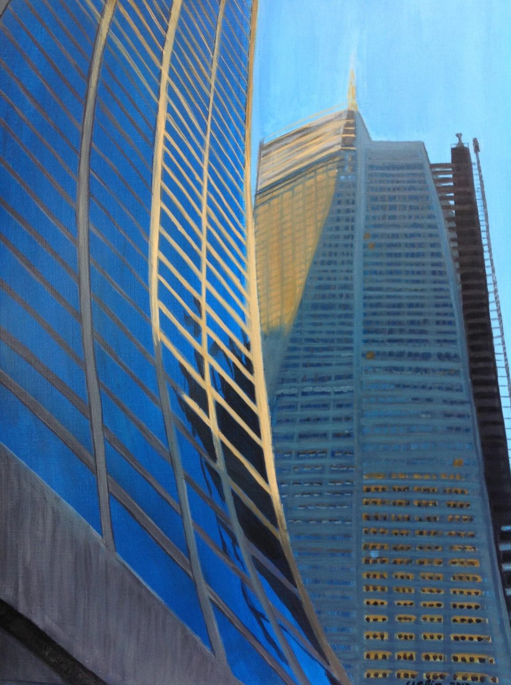"""Skyward NYC"" 16"" x 20"" acrylic on canvas"