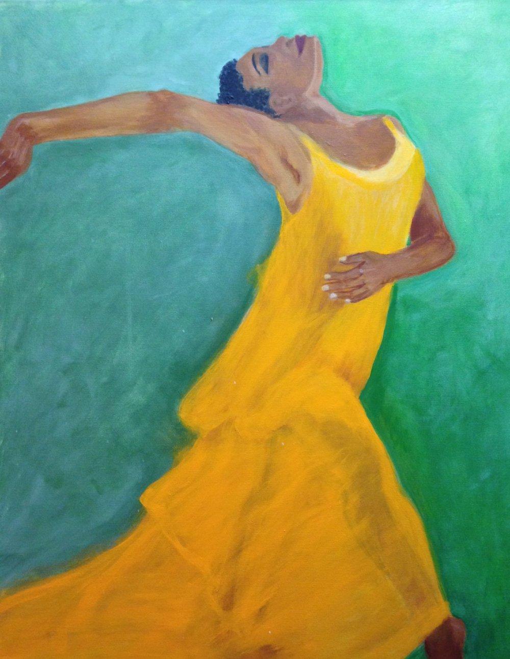 """""""Joke de la danse"""" 24"""" x 30"""" acrylic on stretched canvas"""