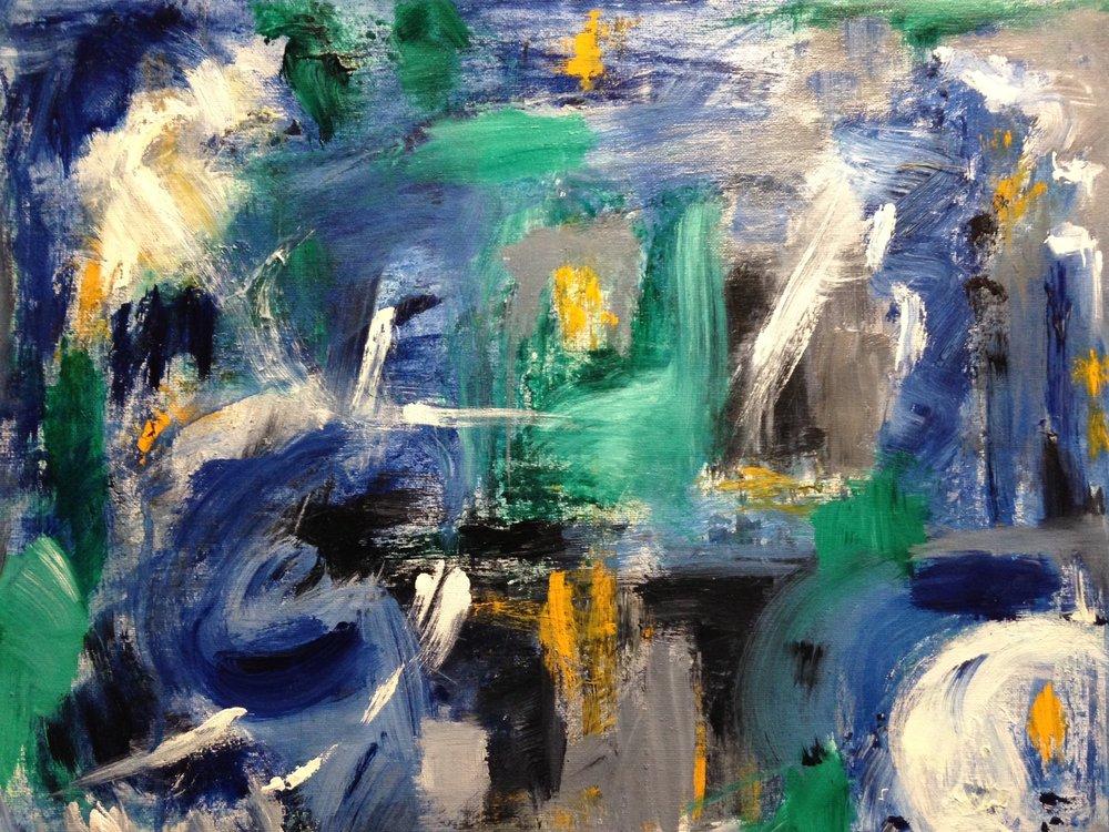 """Rainy day"" 20"" x 16"" acrylic on canvas"