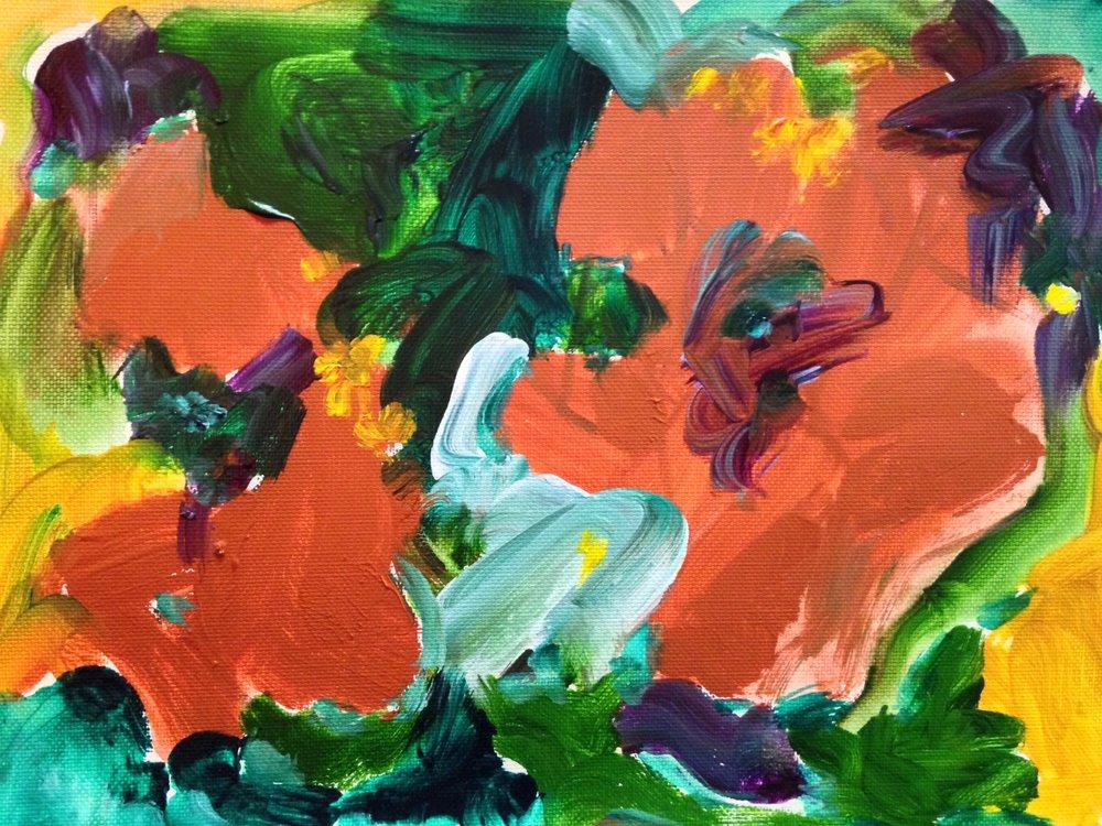 """Poppy garden"" 9"" x 12"" acrylic on canvas paper"