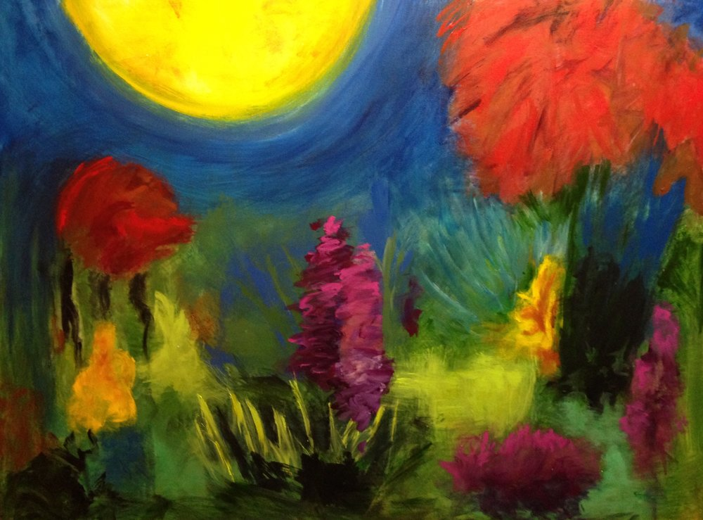 """Moonrise over garden"" 40"" x 30"" acrylic on stretched canvas"