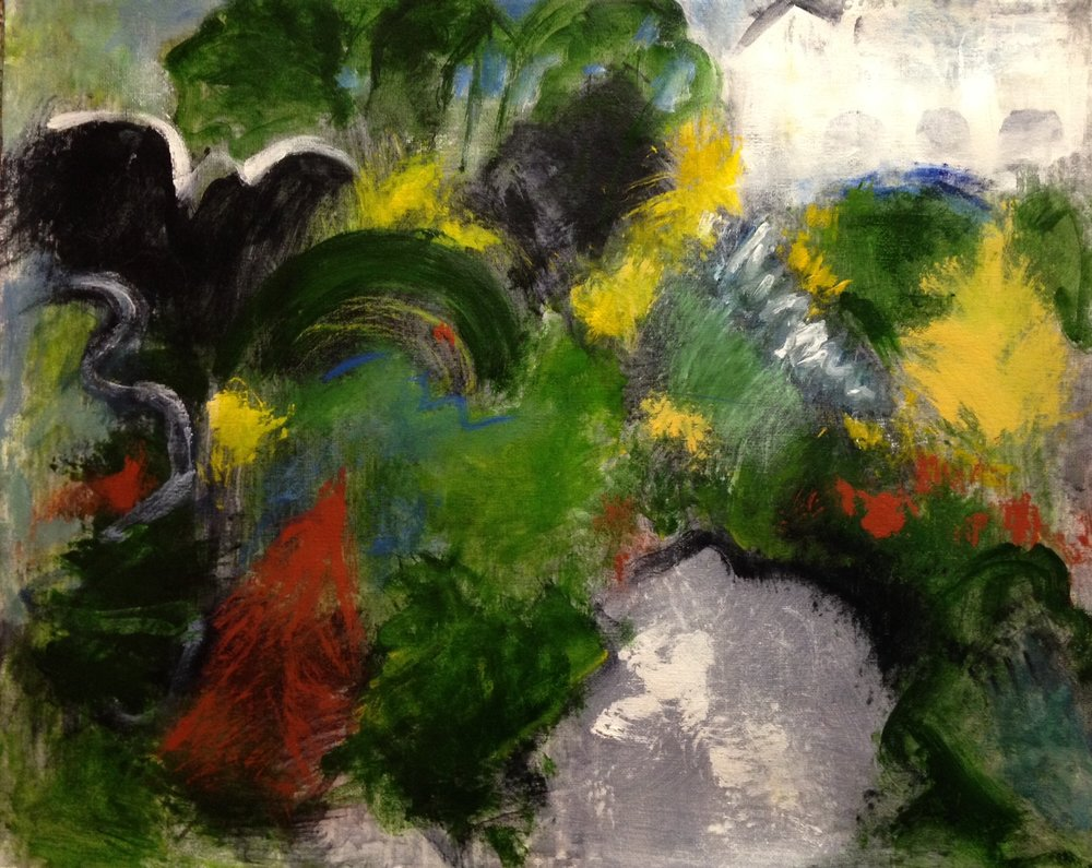 """Hillside landscape"" 20"" x 16"" acrylic on canvas"
