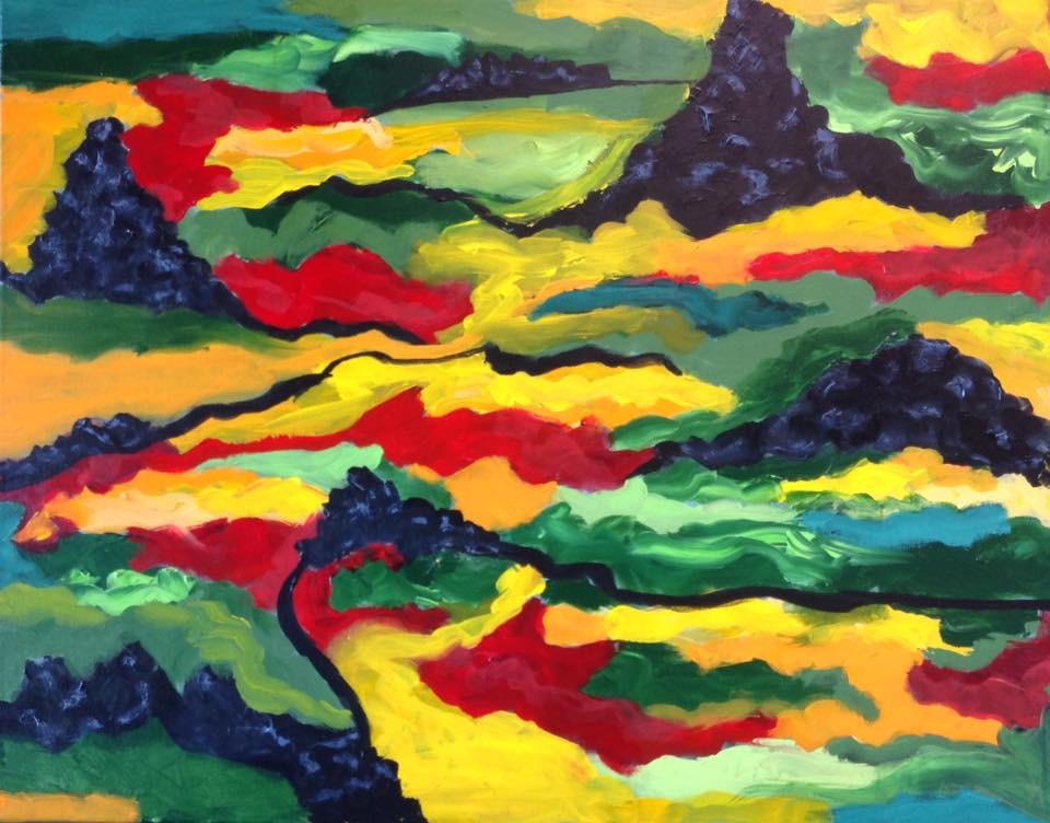 """Lava field Iceland"" 28"" x 22"" acrylic on stretched canvas"