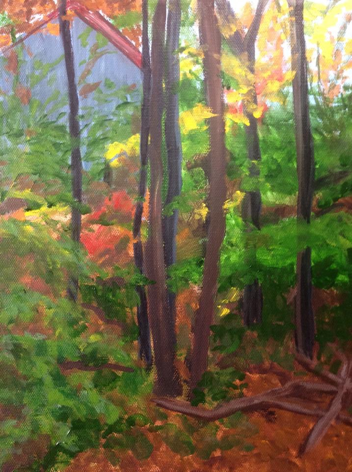 """Fall camp 3"", 9"" x 12"" acrylic on stretched canvas"