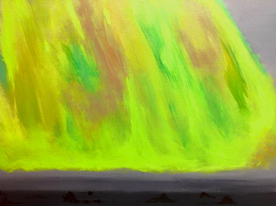 """Boreal lights Iceland"" 24"" x 18"" acrylic on stretched canvas"