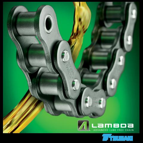 - Las cadenas de serie LAMBDA de TSUBAKI aumentan la confiabilidad y minimizan los costos de mantenimiento en aplicaciones donde la lubricación de la cadena resulta difícil o en aplicaciones de transporte en las cuales el material trasladado no puede tener contacto con aceite. Las cadenas LAMBDA utilizan componentes endurecidos para maximizar su desempeño bajo condiciones de carga estándar, en conjunto, con bujes sinterizados impregnados de aceite; el resultado, cadenas de desempeño óptimo para trabajar en ambientes libres de lubricación. El concepto y construcción de las cadenas LAMBDA puede aplicarse a cadenas de transporte y especiales.