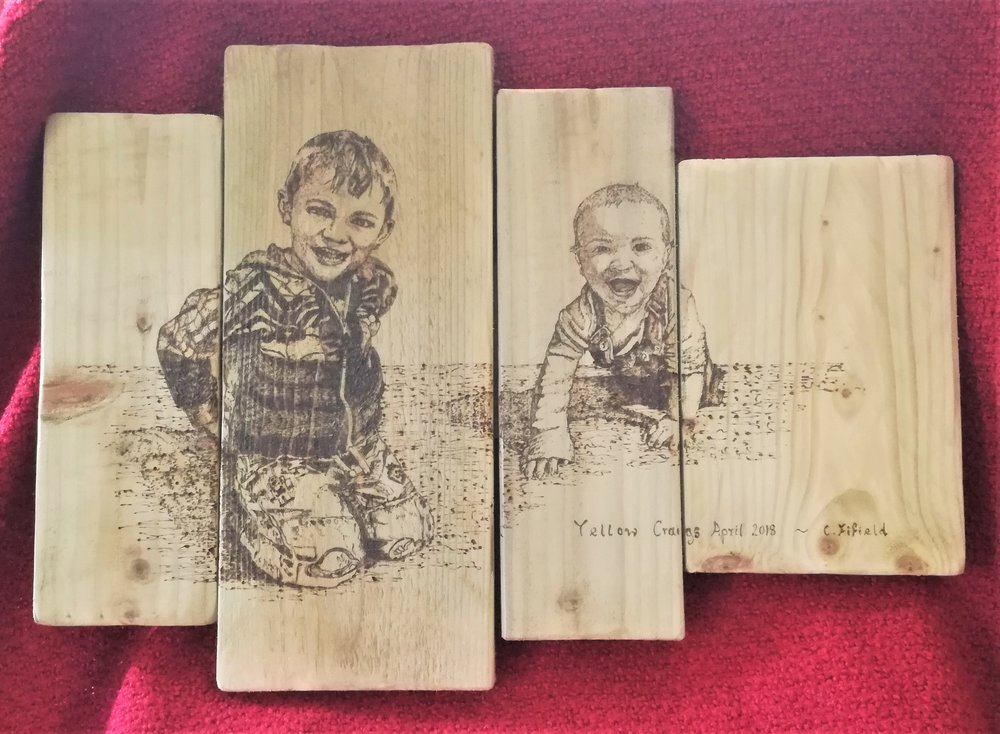 Pyrography - This is an example of one of our handmade wooden plaques with a personalised portrait burnt on. This has been finished using Modge Podge varnish and fixings to rear ready to hang.