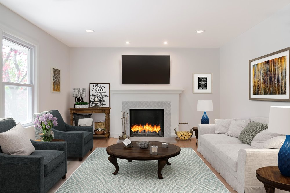 Virtual staging of a residential home for real estate.