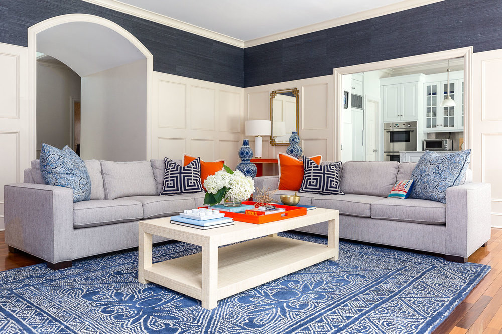 A beautiful and vibrant living room in a Greenwich, CT home.