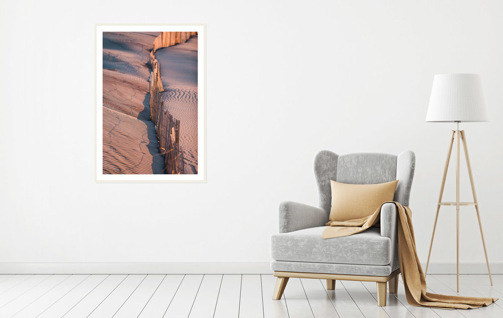 Personalize your home decor my purchasing framed photography prints to decorate the walls throughout your home. Framed print of the wind blown sand at sunset on the dunes in Long Island. Purchase prints in our Fine Art Photography Print Shop by  clicking here