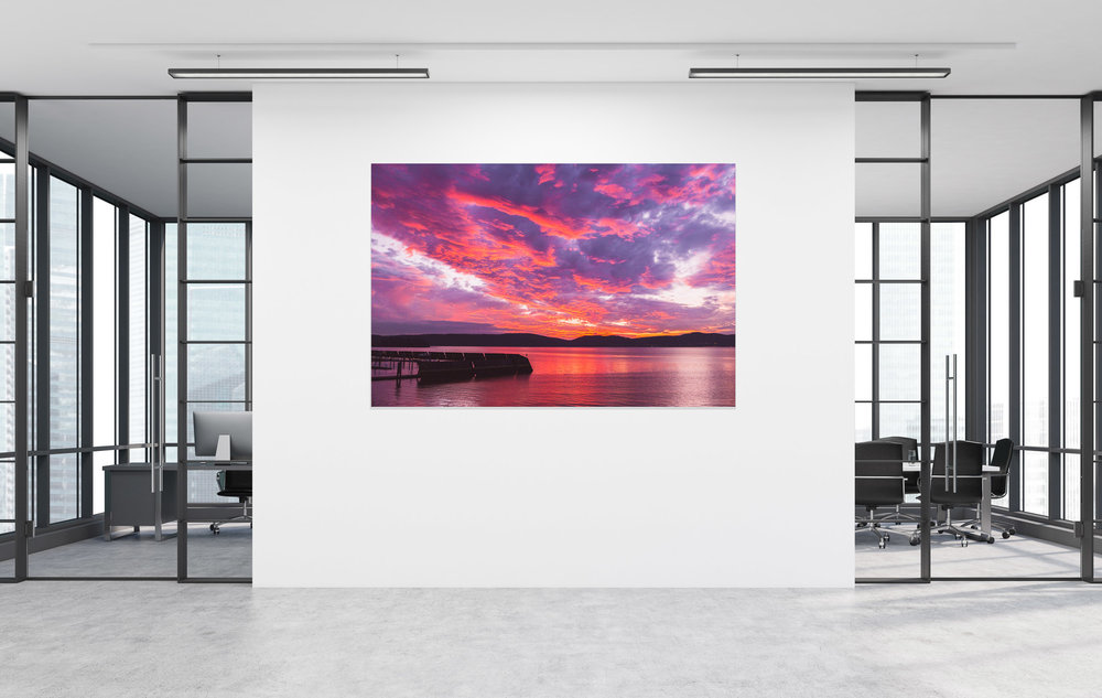 Mettallic prints, also known as metal prints, bring photography images to life by infusing dyes into specially coated aluminum sheets. You truly haven't seen a more brilliant and impressive print! Metallic print of a Sunset over the Hudson River in Croton on Hudson, NY. Purchase prints in our Fine Art Photography Print Shop by  clicking here