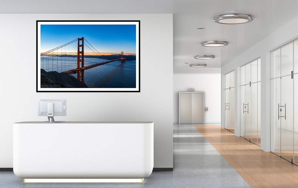 Purchase framed photography prints to decorate the walls throughout your office, business or restaurant. Framed print of the Golden Gate Bridge in San Francisco, CA. Purchase prints in our Fine Art Photography Print Shop by  clicking here