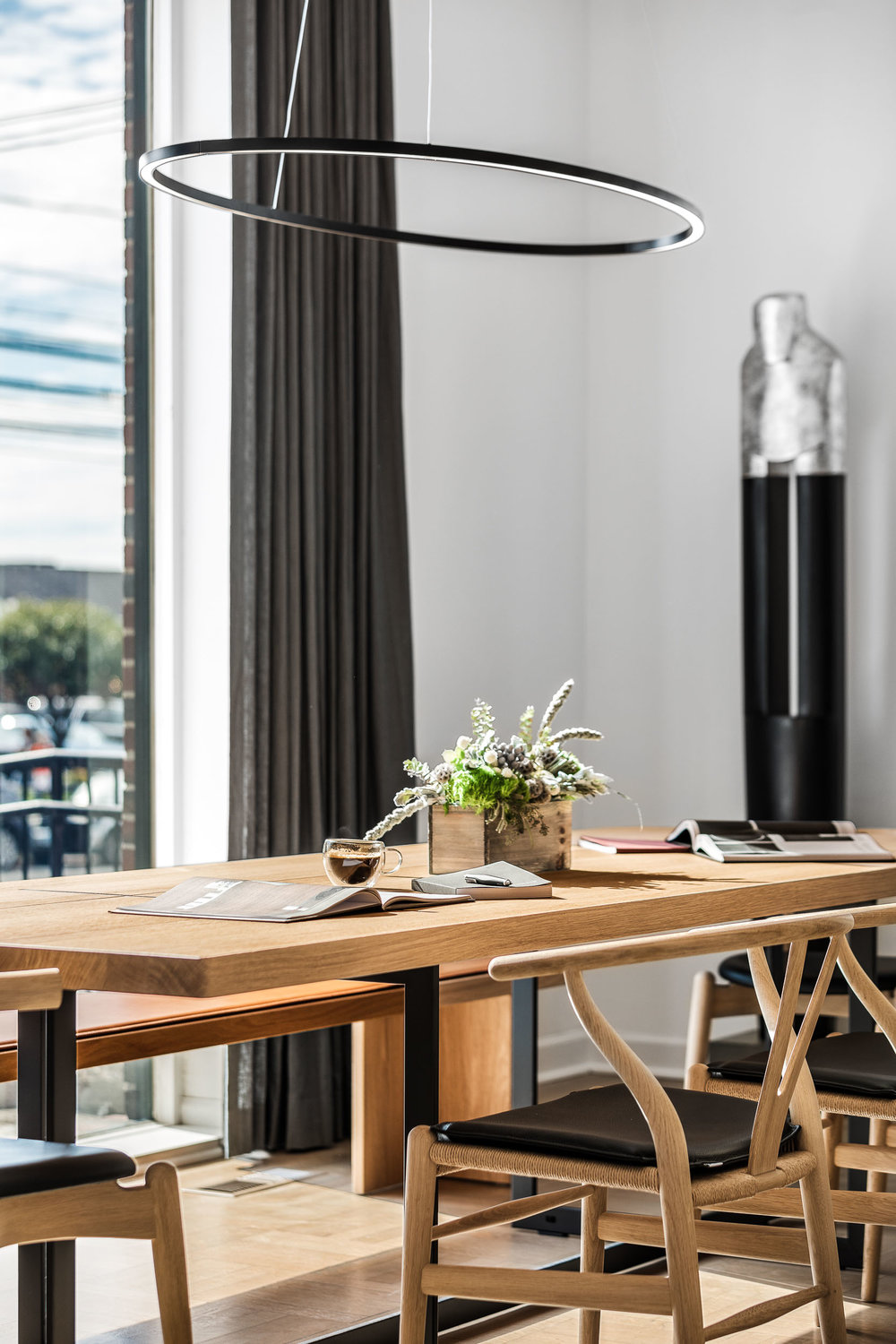 Product photography of luxury kitchen table and bench in Greenwi