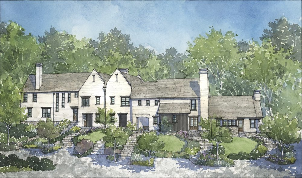 Swann Ridge British Cottages artist rendering by Cindy Cox.