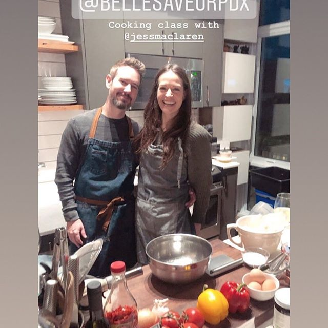 Me and my favorite person (and mixologist) Brett! We're doing our thing at tonight's culinary workshop in PDX! Journey through Brazil, 🇧🇷 Our cooking class was a huge hit! Check us out or RSVP for the next class, passport to India!