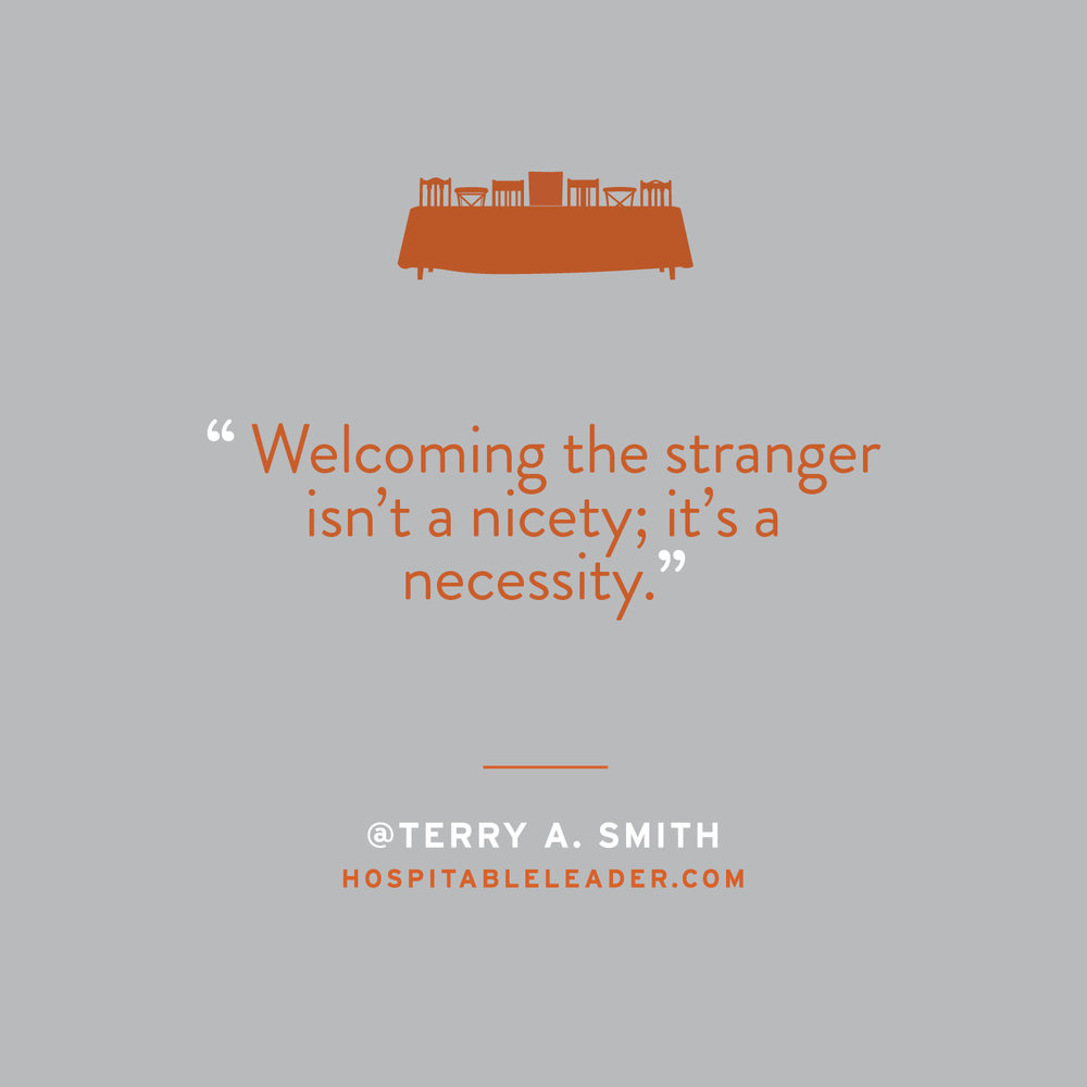 Inviting the stranger to our table is a biblical mandate. It's an act of generosity and compassion that Jesus exemplified throughout his ministry. It's not just about being nice. It's about following his example. Don't miss Terry Smith's new book, The Hospitable Leader — a playbook for following Jesus' leadership style. Learn more at HospitableLeader.com.