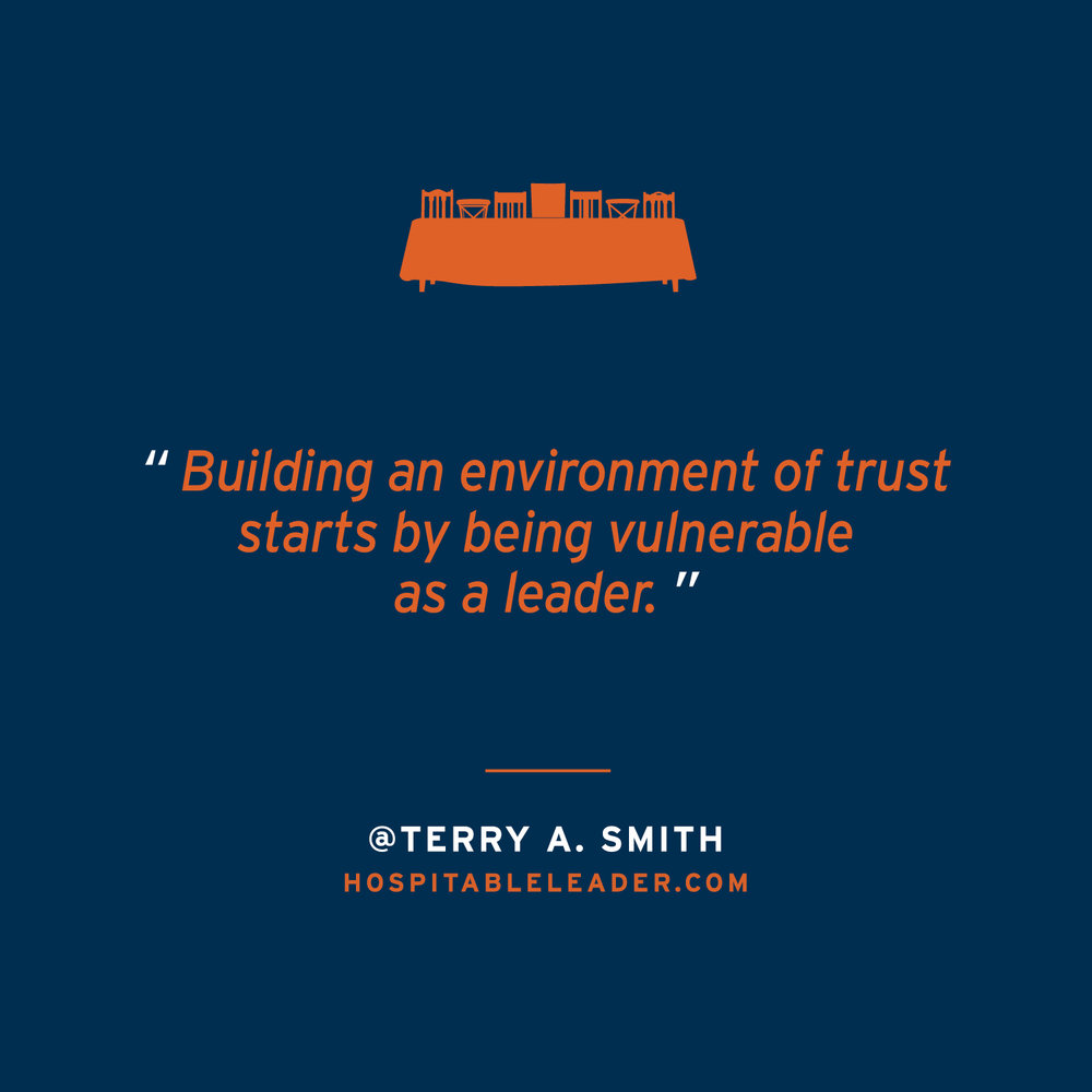 Honesty and vulnerability create a trustful, welcoming environment. This environment creates healthy leaders and team members who thrive. Terry Smith's new book The Hospitable Leader digs into this idea even more. Check it out at HospitableLeader.com.