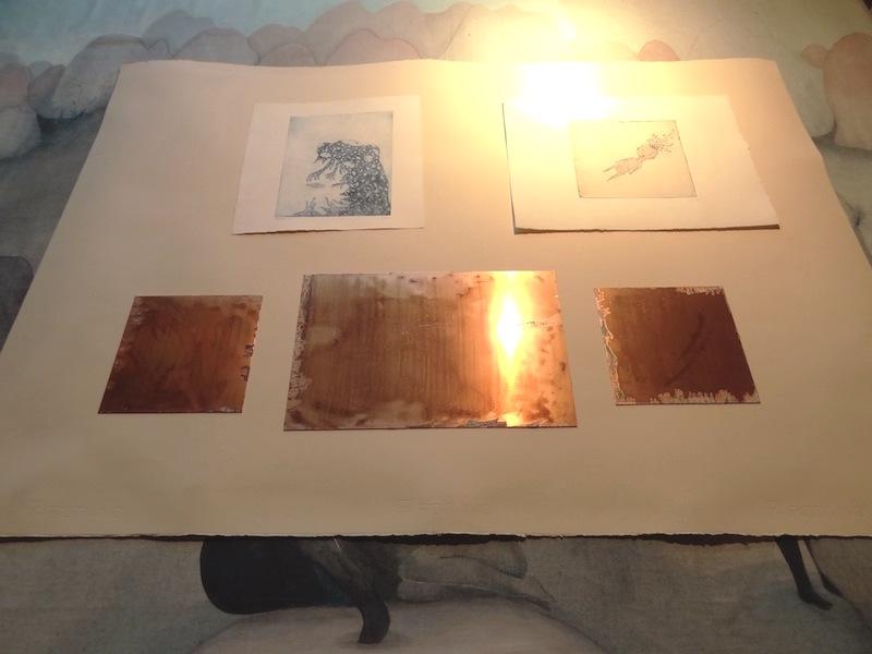 Deux gravures de Bertrand Secret et plaques de cuivre.