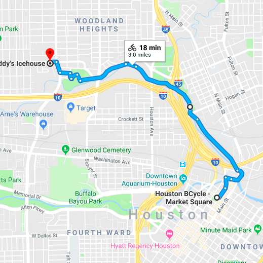 Downtown to The Heights - An ideal brunch ride. Stops include Market Square Park, Bobcat Teddy's , Batanga, Onion Creek Coffee House, and Hearsay.