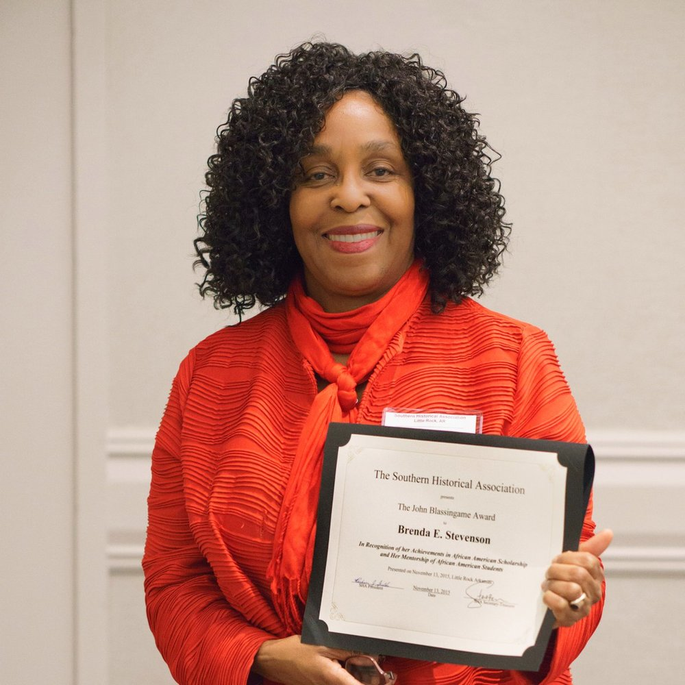 Brenda E. Stevenson receives the Southern Historical Association's john W. Blassingame award2015 - Brenda E. Stevenson receives the Southern Historical Association's John W. Blassingame Award honoring scholarship and mentorship in African American history.