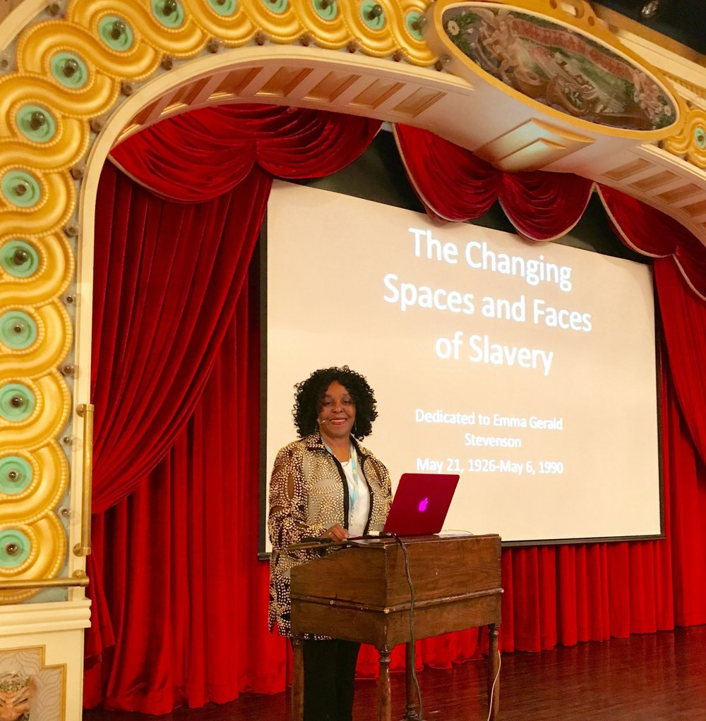 "Brenda E. Stevenson Serves as a Distinguished Lecturer For the Southern Grandeur Tour2017 - Brenda E. Stevenson presented her research on""The Changing Spaces and Faces of Slavery"" during the 2017 Southern Grandeur Tour in her role as a distinguished lecturer. The tour journeyed down the Mississippi River visiting cities in Louisiana, Mississippi and Tennessee to explore the sites and histories of the American South."