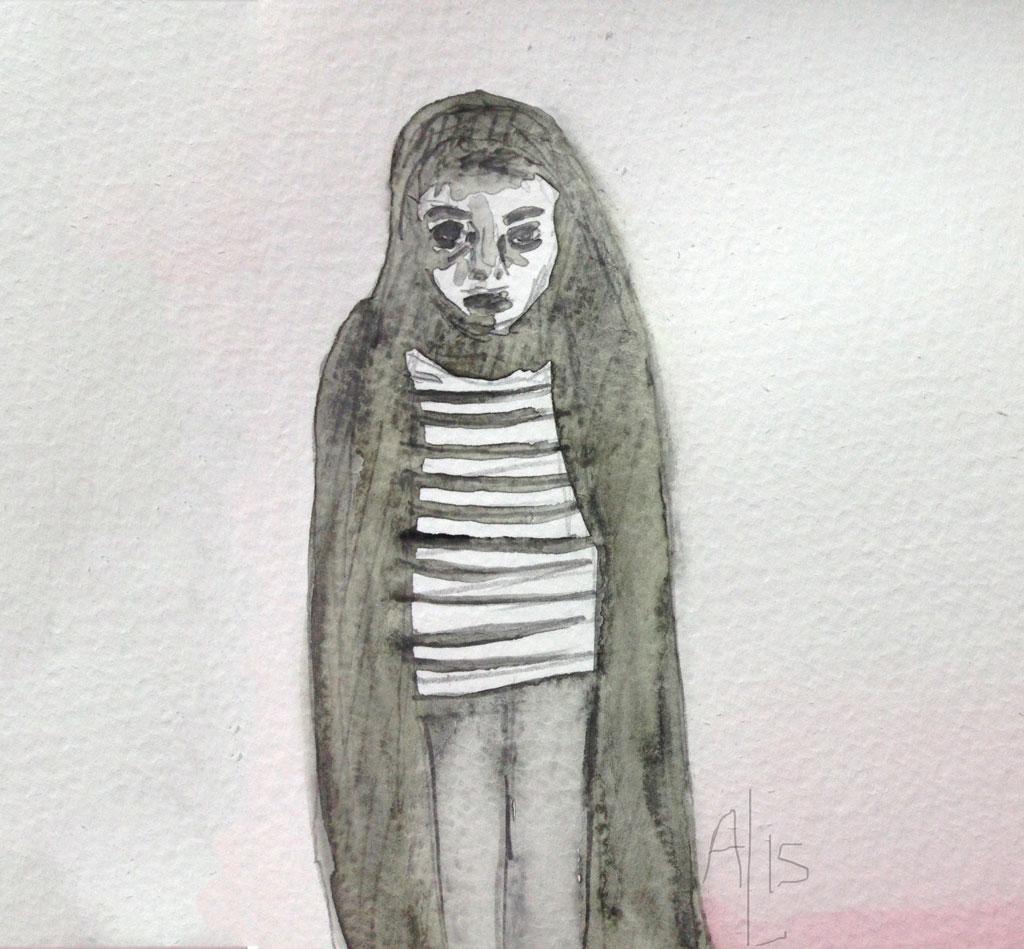 Girl Walks Home Alone Illustration Horror Movie