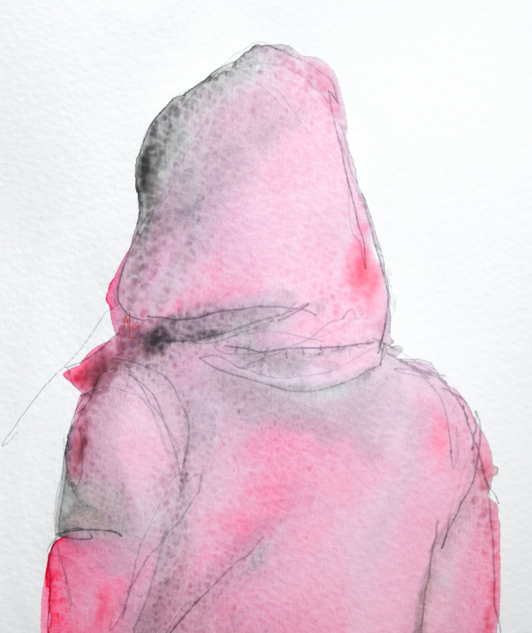 Red Coat Don't Look Now Watercolor Illustration