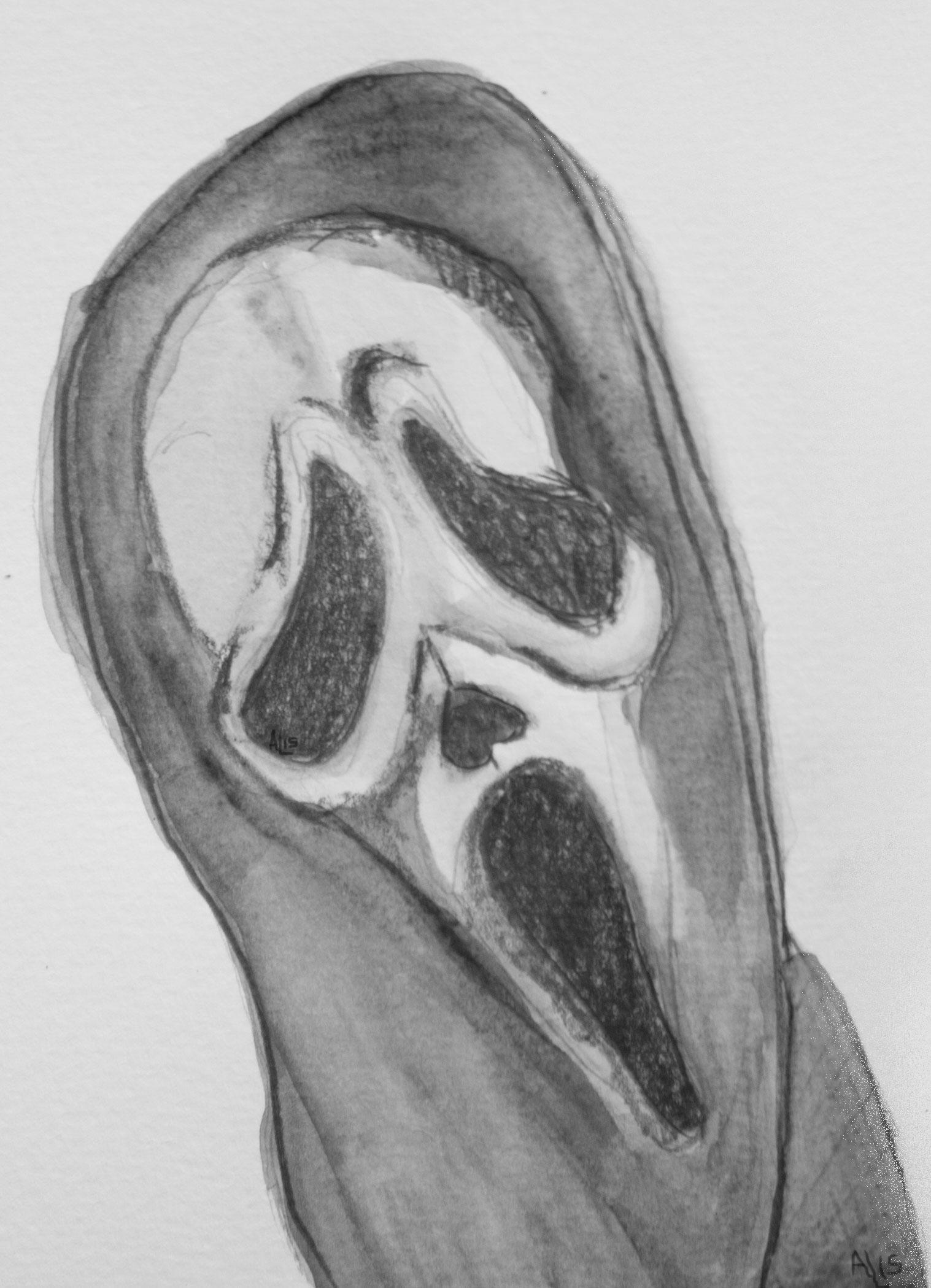 Ghostface Scream Watercolor Illustration